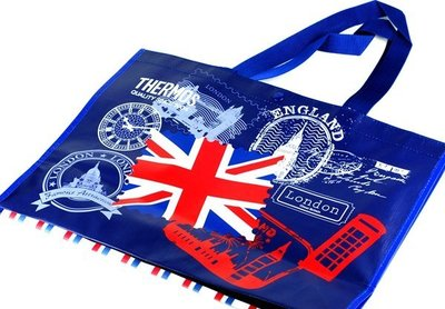 THERMOS 膳魔師 2015年 歐洲漫遊 ( 英倫巴黎藍白環保提袋) 購物袋 超取 離島