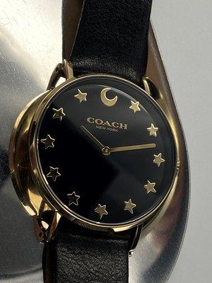COACH蔻馳女錶,編號CH00006,36mm金色圓形精鋼錶殼,黑色簡約, 星月錶面,深黑色真皮皮革錶帶款,星月特別