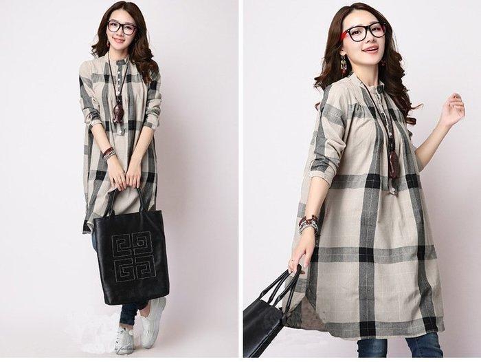 日系長版寬鬆格紋棉麻襯衫/連衣裙(團購熱銷款..特價269元@@