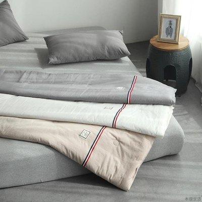 水洗棉夏被織帶工藝款純色全棉空調被夏涼...