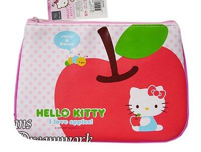 【卡漫迷】 Hello Kitty  PU 筆袋 蘋果 ㊣版 輕量 凱蒂貓 三麗鷗 化妝包 萬用包 萬用袋 拉鏈 防水
