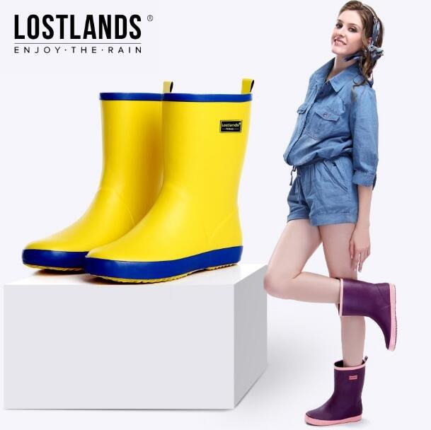 雨鞋 雨靴 橡膠靴女中筒雨鞋 撞色雨靴 亞光純色膠鞋防水鞋 安全鞋—莎芭