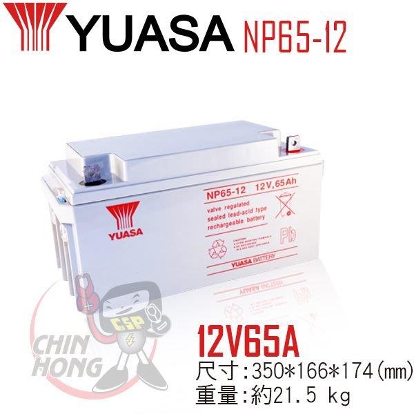 (鋐瑞電池) 預購制 YUASA 湯淺 NP65-12 閥調密閉式鉛酸電池 12V65AH UPS不斷電 露營 海釣