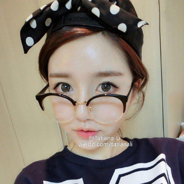 韓版學院風復古黑色平光鏡文藝百搭原宿男女可配近視眼鏡框架潮