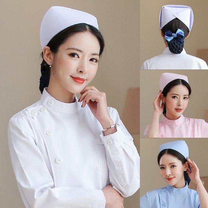 千夢貨鋪-半永久護士帽子白色女士加厚硬挺衛校粉紅薄橫杠燕尾帽粉色藍色#美容院服#護士服#職業裝#白大褂#工作服