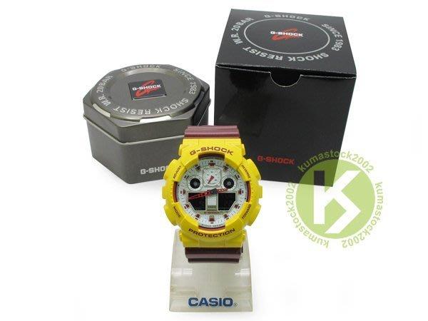 超大 55mm 錶徑 全新配色 CASIO G-SHOCK GA-100CS-9DR 黃深紅白 NBA 球隊 騎士隊
