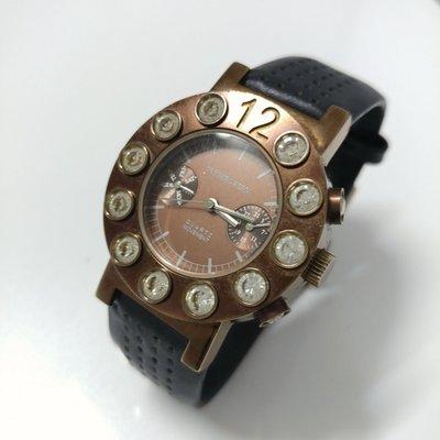 DYRBERG/KERN 丹麥名牌 圓鑽 棕金色腕表