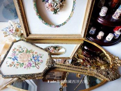 黑爾典藏西洋古董~英國刺繡花卉黃銅手拿古董手拿鏡/梳妝台/古董擺飾Vintage英國鍍銀復古
