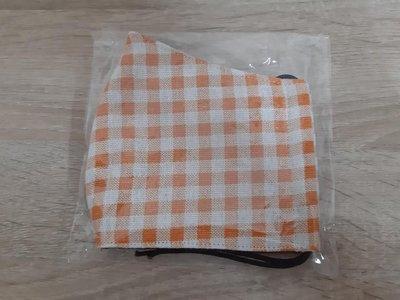 【小茉莉】手作大人立體尖嘴口罩/台灣棉布手作大人鳥嘴防曬口罩→粉彩格子-橘色/粉膚