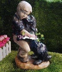 INPHIC-田園擺設花園花盆別墅園藝裝飾用品 小孩和狗 陶瓷工藝品