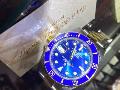 已賣2019年份『現貨.沒落名』台大全配 Rolex勞力士116613LB放射面 半金藍水鬼 2019年 潛航者潛水腕錶