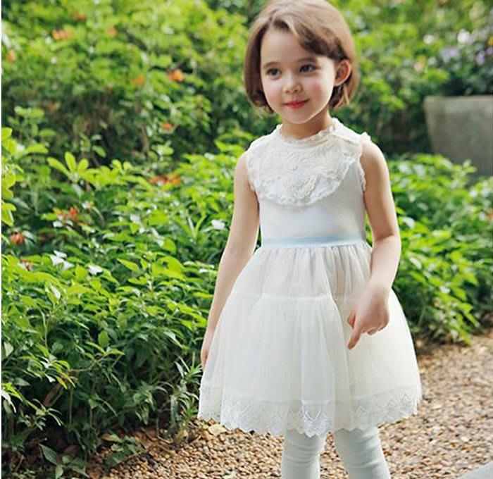促銷特價~女童夏季彈力羅紋蕾絲無袖洋裝裙~白色~正韓PINKIDEAL品牌