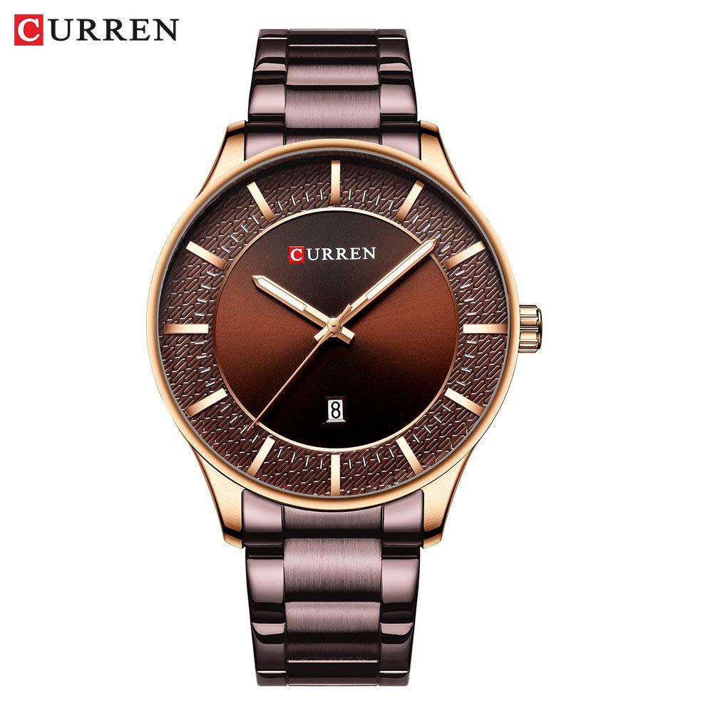 【潮裡潮氣】Curren /卡瑞恩新款鋼帶錶防水石英日曆男士手錶商務男錶8347
