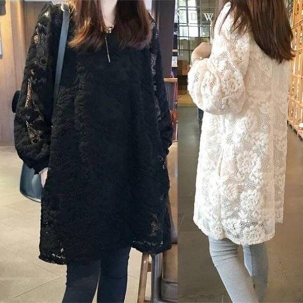 現貨出清 大尺碼女裝 韓版蕾絲鏤空洋裝連衣裙 娃娃裝 蕾絲洋裝