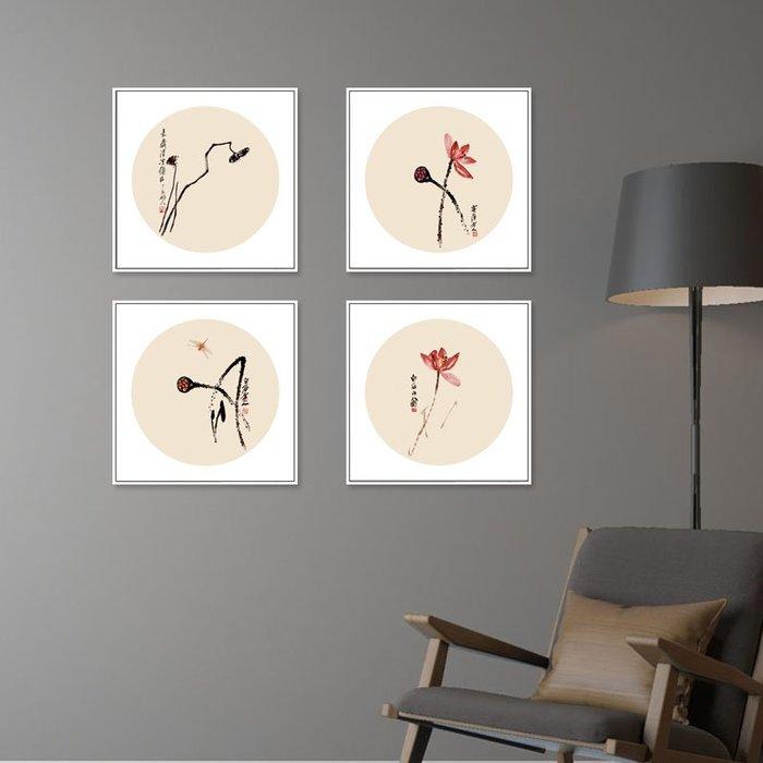 掛畫 壁畫 中式風格裝飾畫入戶門廳走廊過道荷花掛畫臥室床頭畫餐廳墻壁畫