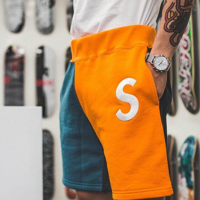 全新正品 Supreme 2019SS 大S 拼接Logo Colorblocked Sweatshort 短褲
