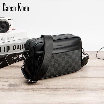 運動包CaecnKoen新款男士包包單肩斜跨手機包時尚運動休閑迷你小包零錢包潮包 格子