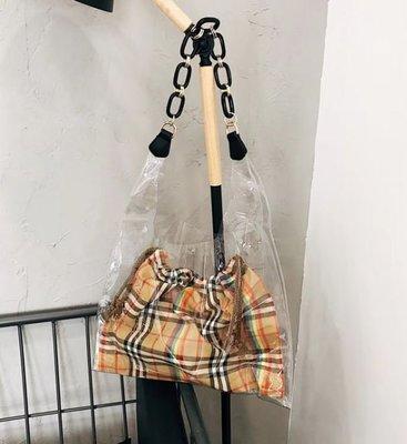 【黑店】英倫時尚經典格紋透明子母包 壓克力鍊條PVC透明單肩包 個性子母包 百搭時尚個性單肩包
