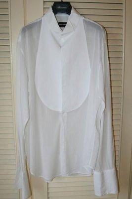 【Giorgio Armani】黑標Made To Measure頂級男仕套量訂製純白色燕尾禮服珠母貝盤扣晚宴禮服襯衫