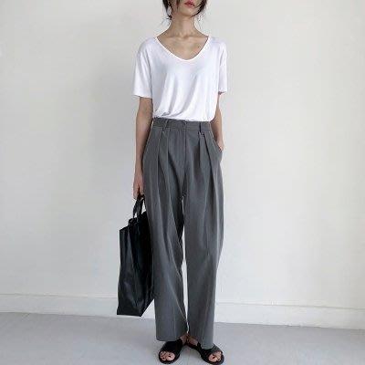 灰色chic隨性高腰壓褶薄西裝面料休閒闊腿西褲長褲