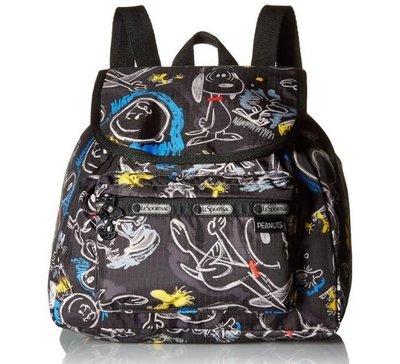 預購 美國 Lesportsac X Chalkboard Snoopy 限量聯名款史努比雙肩後背包 逛街包 逛街包