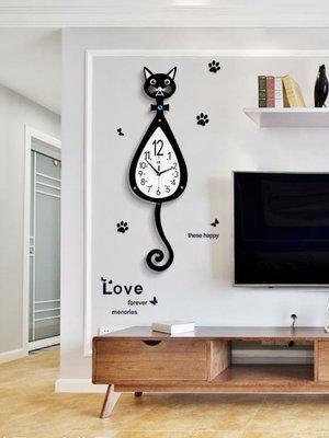 掛鐘貓咪掛鐘創意客廳現代簡約鐘表時尚卡通掛表臥室靜音歐式   全館免運