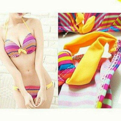 大尺碼大罩杯爆乳激增兩件式比基尼泳衣泳裝。黃彩三角