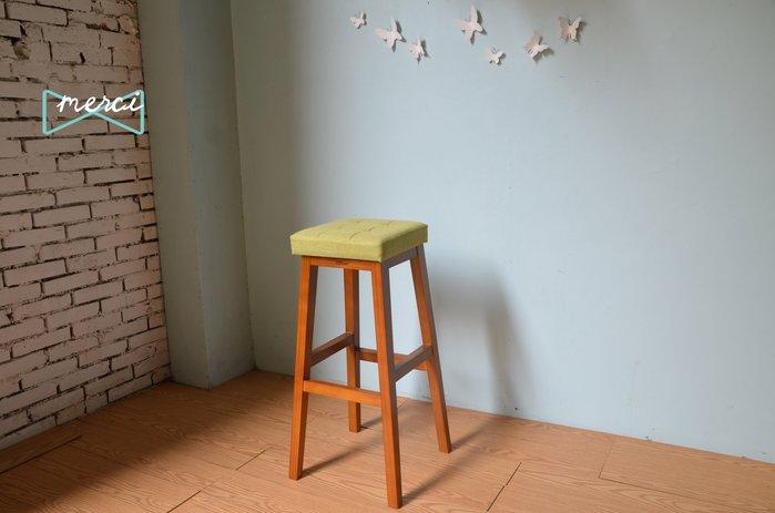 美希工坊JAN-PON吐司吧台椅/中島椅/吧台椅/ 亞麻綠/沙發坐感/柚木椅架