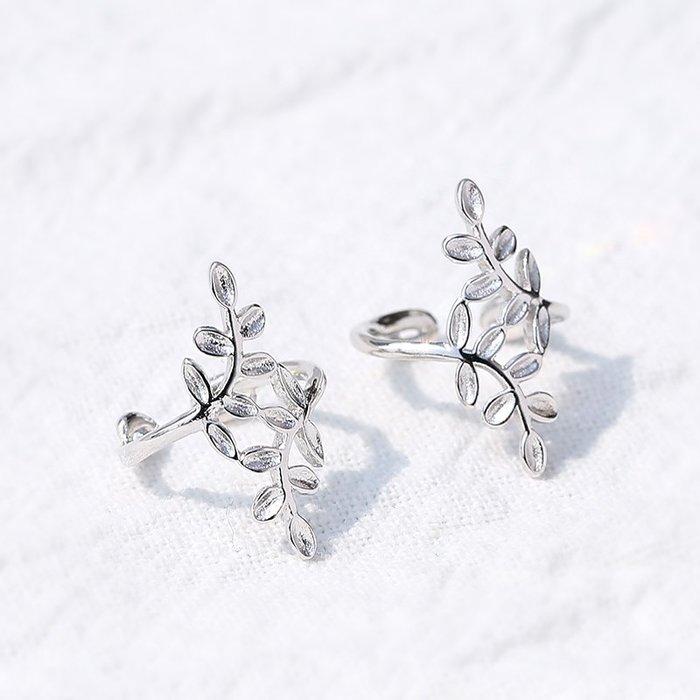FEI日韓代購~925純銀樹葉耳夾女耳骨夾無耳洞森系葉子適合圓臉的百搭超仙耳飾