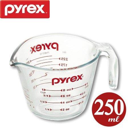 【小胖日本代購】缺貨 PYREX 耐熱厚玻璃(強化玻璃) 刻度 量杯 250ml ◎烘焙、料理適用/美國製◎