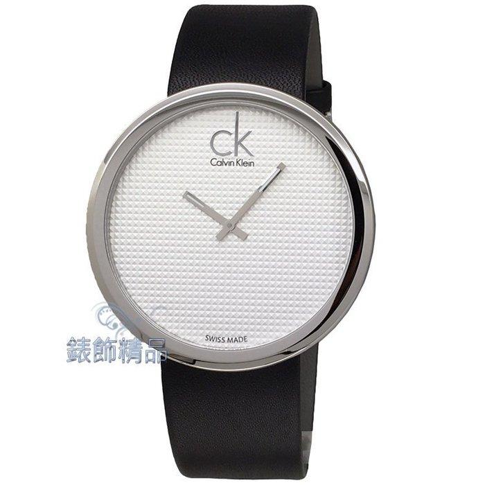 【錶飾精品】CK手錶 K0V231C6 立體刻紋錶盤薄型錶殼 時尚名媛大錶徑銀白面黑皮帶腕錶 全新原廠正品 情人生日禮品