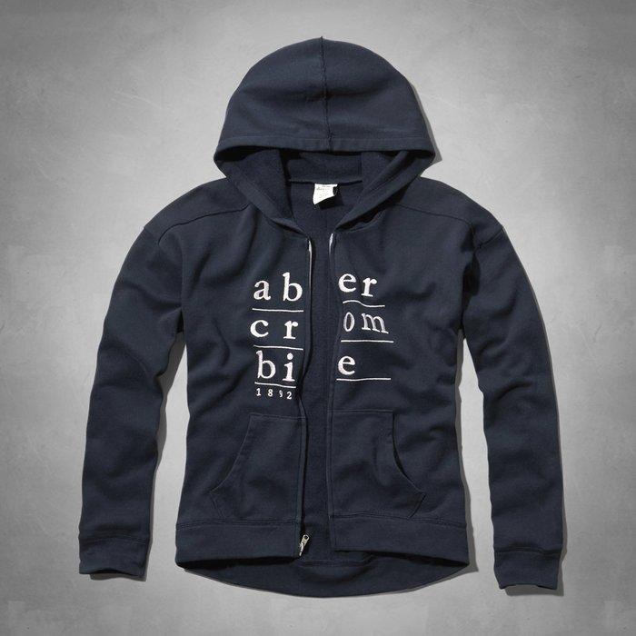 Maple麋鹿小舖 abercrombie&fitch * a&f 女童款深藍電繡連帽外套 * ( 現貨XL號 )