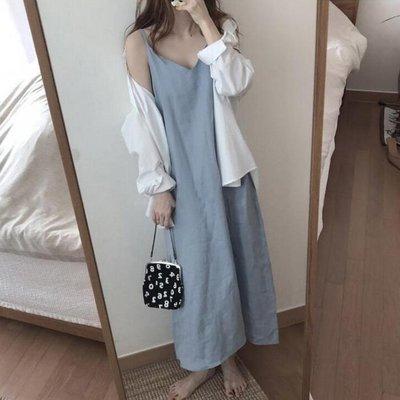 連身裙休閒洋裝 細肩棉麻性感V領寬鬆洋裝 艾爾莎【TAE8348】