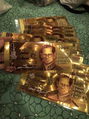 (現貨商品) 牛牛小舖**泰國聖物連線 阿贊力礦 新年 錢滾錢 金箔紙鈔 招財開運錢母