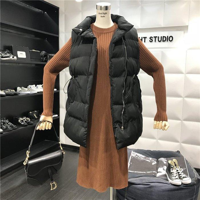 薄外套 外套 衛衣 開衫外套 毛衣立領拉鏈中長款腰部抽繩無袖棉服馬甲外套+針織連衣裙(分開賣)