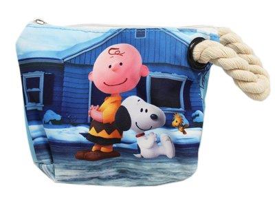 【卡漫迷】 Snoopy 查理 化妝包 麻繩 可觸控 ㊣版 智慧型手機 史努比 收納袋 萬用包 鉛筆袋 史奴比 手機袋