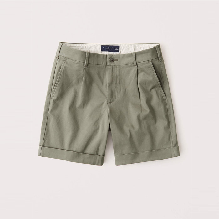 【Abercrombie&Fitch】【A&F】AF男款休閒短褲短版軍綠 F02200915-06