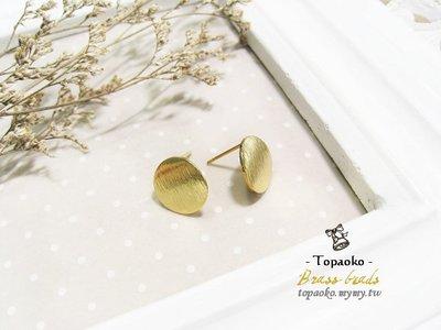 串珠材料˙耳環配件 黃銅鍍18K金髮絲紋圓形帶耳耳針一對2P【F7670】12mm飾品手作DIY《晶格格的多寶格》