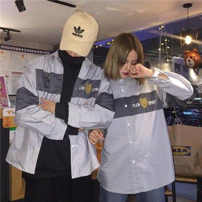 韓國原宿風條紋復古字母刺繡老虎頭長袖襯衫寬鬆上衣男女
