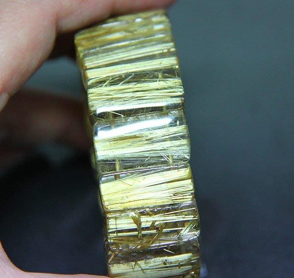 【小熊水晶窩 】清料!近全美!髮絲超閃亮 清透晶體 黃金粗版鈦晶手鍊手排 重77.2克