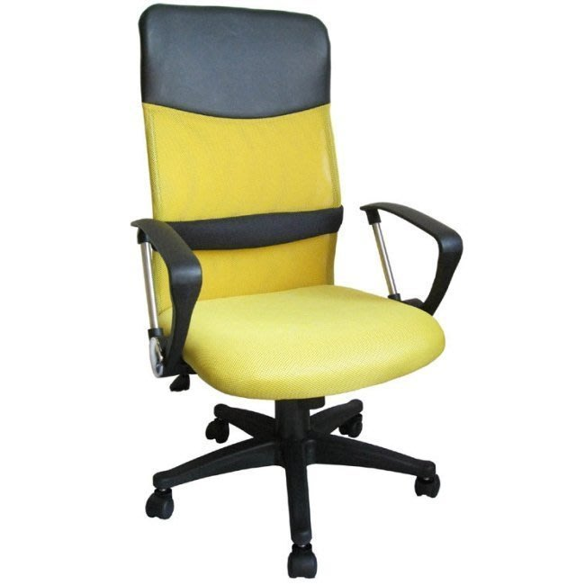 耐重力100公斤【含發票】超透氣網布-高背椅+靠腰墊-電腦椅-辦公椅-主管椅-洽談椅-會客椅-會議椅-DM109D-黃色