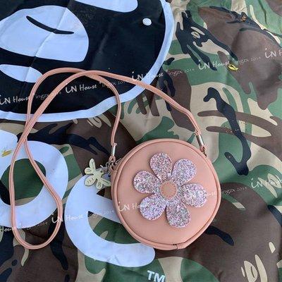IN House*??現貨 bag 歐美 小公主 粉色 亮片 花朵 圓形 親子 單肩包 側背包 斜跨包
