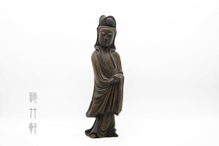 【聽竹軒】黃楊木雕觀世音菩薩立像