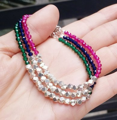 嗨,寶貝銀飾珠寶* 925純銀☆混搭風  時尚精品 閃亮亮寶石切割 純天然紅寶石 藍色尖晶石寶石 綠色尖晶石寶石 光面多角珠純銀手鍊