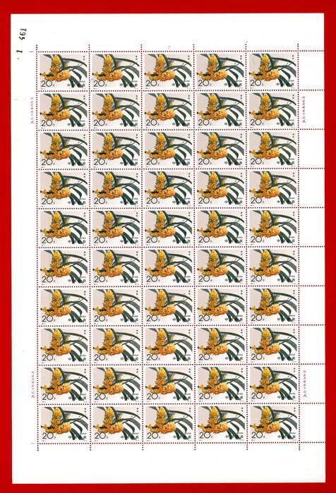 1995-6 桂花版張全新上品原膠、無對折(張號與實品可能不同)