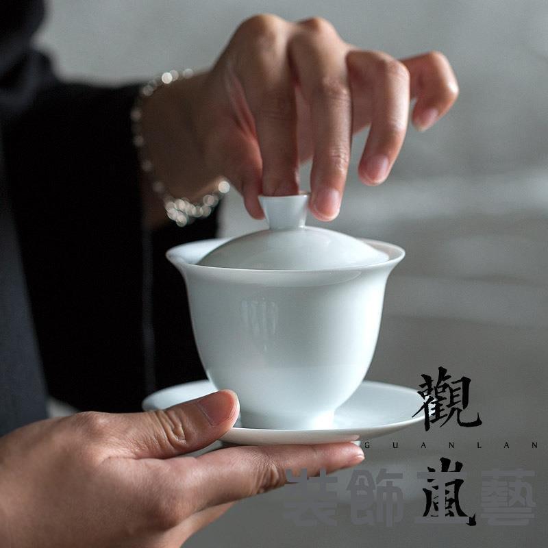 甜白瓷蓋碗茶具套裝玉泥蓋碗茶具家用建水辦公室商務禮品