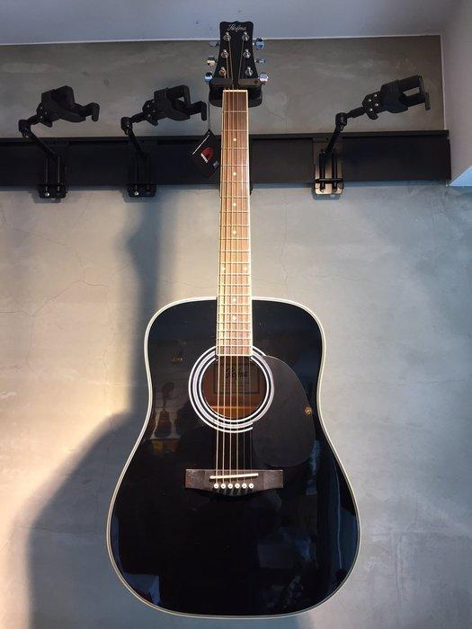 【六絃樂器】全新 Hofma 黑色民謠吉他 41吋傳統造型 / 附配件