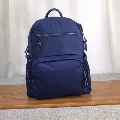 現貨促銷 免運 新款 TUMI 深藍搶色拉鍊 可插行李箱 多口袋拉鍊款多功能輕量後背包 加厚尼龍拼接真皮拉鍊 明星同款