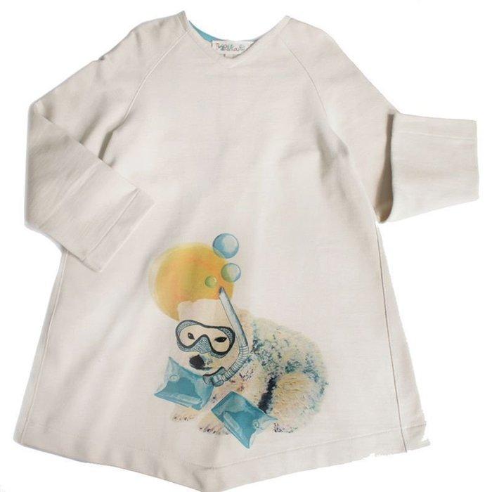 〖洋碼頭〗西班牙原產MoNiKaKoKids白色長袖v領連衣裙女童2-6歲 L3164