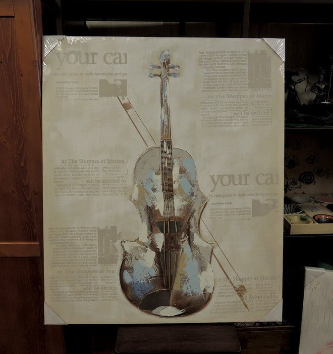 多媒油彩畫 提琴油畫 樂器圖畫 大型壁畫 壁飾 民宿裝潢 開關箱美化 無框畫  80*95 壁畫 大型帆布畫